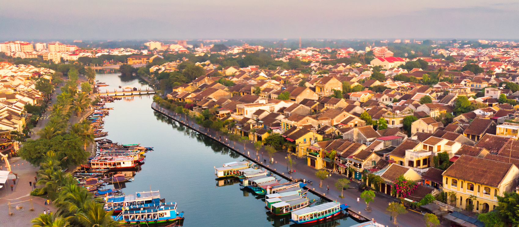 aerial view hoi ancient town vietnam